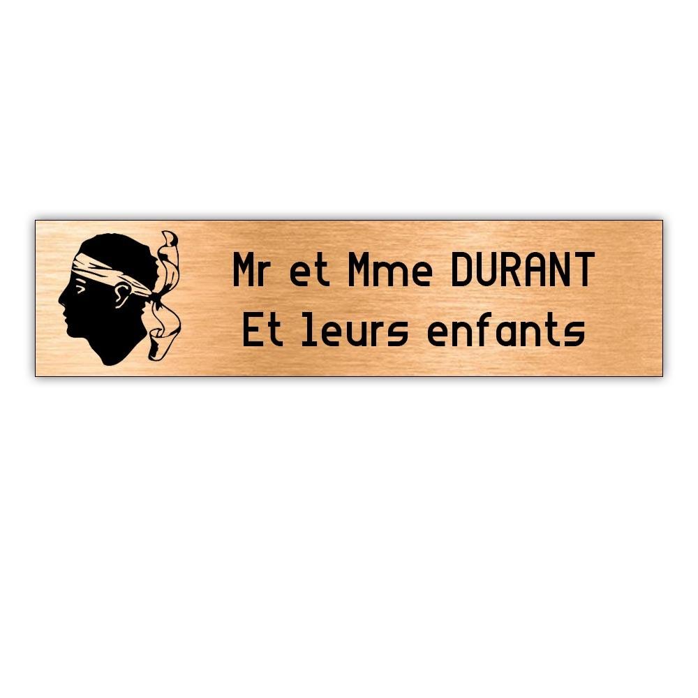 Plaque boite aux lettres Decayeux CORSE (100x25mm) cuivre lettres noires - 2 lignes