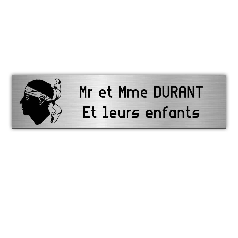 Plaque boite aux lettres Decayeux CORSE (100x25mm) gris argent lettres noires - 2 lignes
