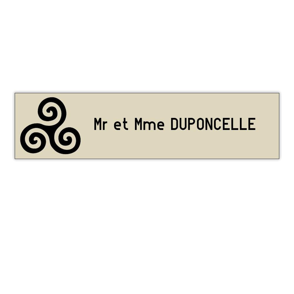 Plaque boite aux lettres Decayeux TRISKELL (100x25mm) beige lettres noires - 1 ligne