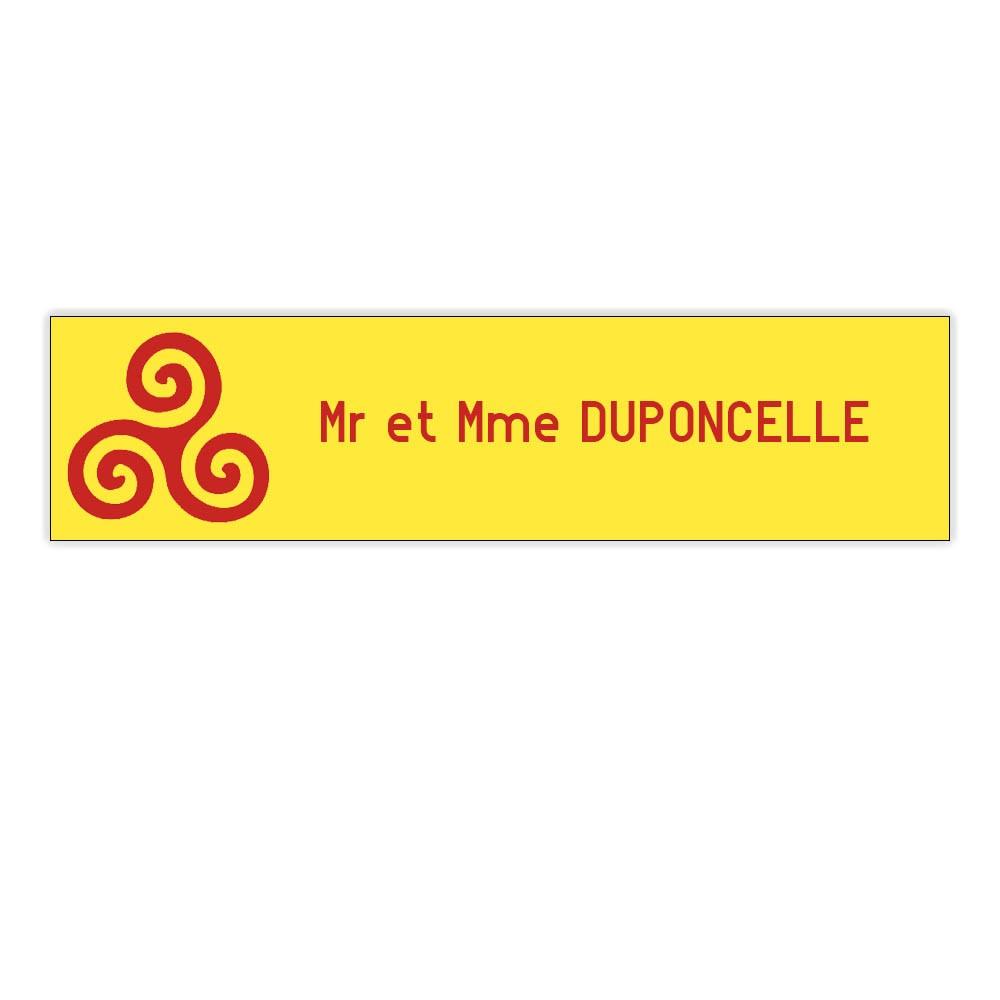 Plaque boite aux lettres Decayeux TRISKELL (100x25mm) Jaune lettres rouges - 1 ligne