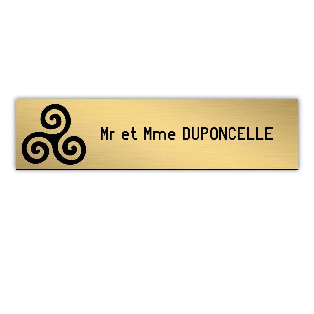 Plaque boite aux lettres Decayeux TRISKELL (100x25mm) or brossé lettres noires - 1 ligne