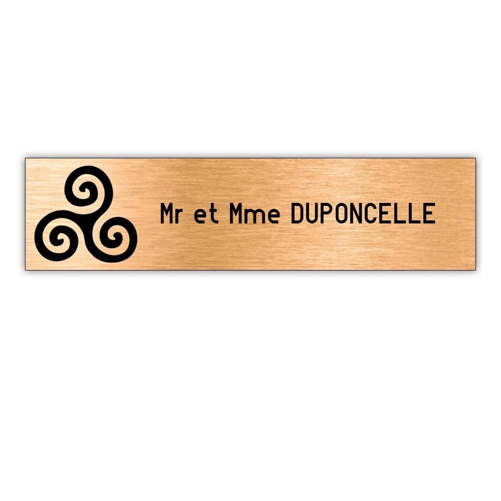 Plaque boite aux lettres Decayeux TRISKELL (100x25mm) cuivre lettres noires - 1 ligne