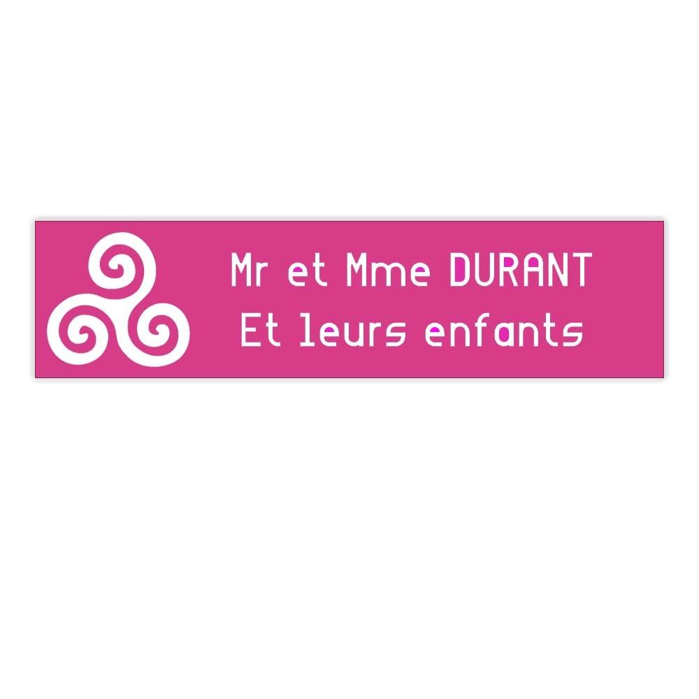 Plaque boite aux lettres Decayeux TRISKELL (100x25mm) rose lettres blanches - 2 lignes