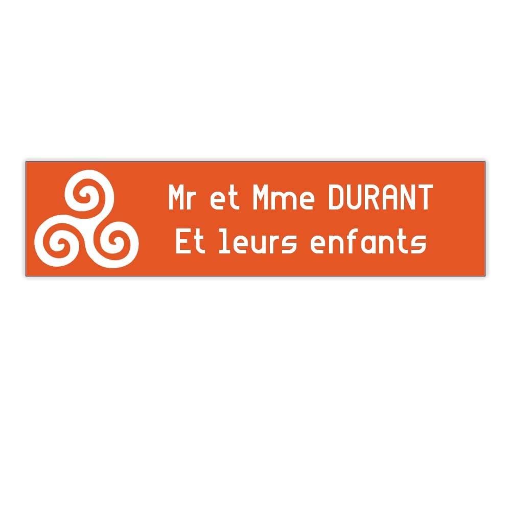 Plaque boite aux lettres Decayeux TRISKELL (100x25mm) orange lettres blanches - 2 lignes