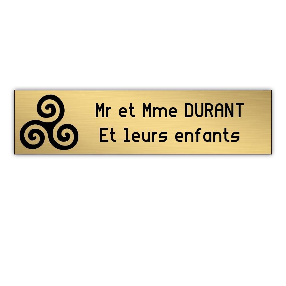 Plaque boite aux lettres Decayeux TRISKELL (100x25mm) or brossé lettres noires - 2 lignes