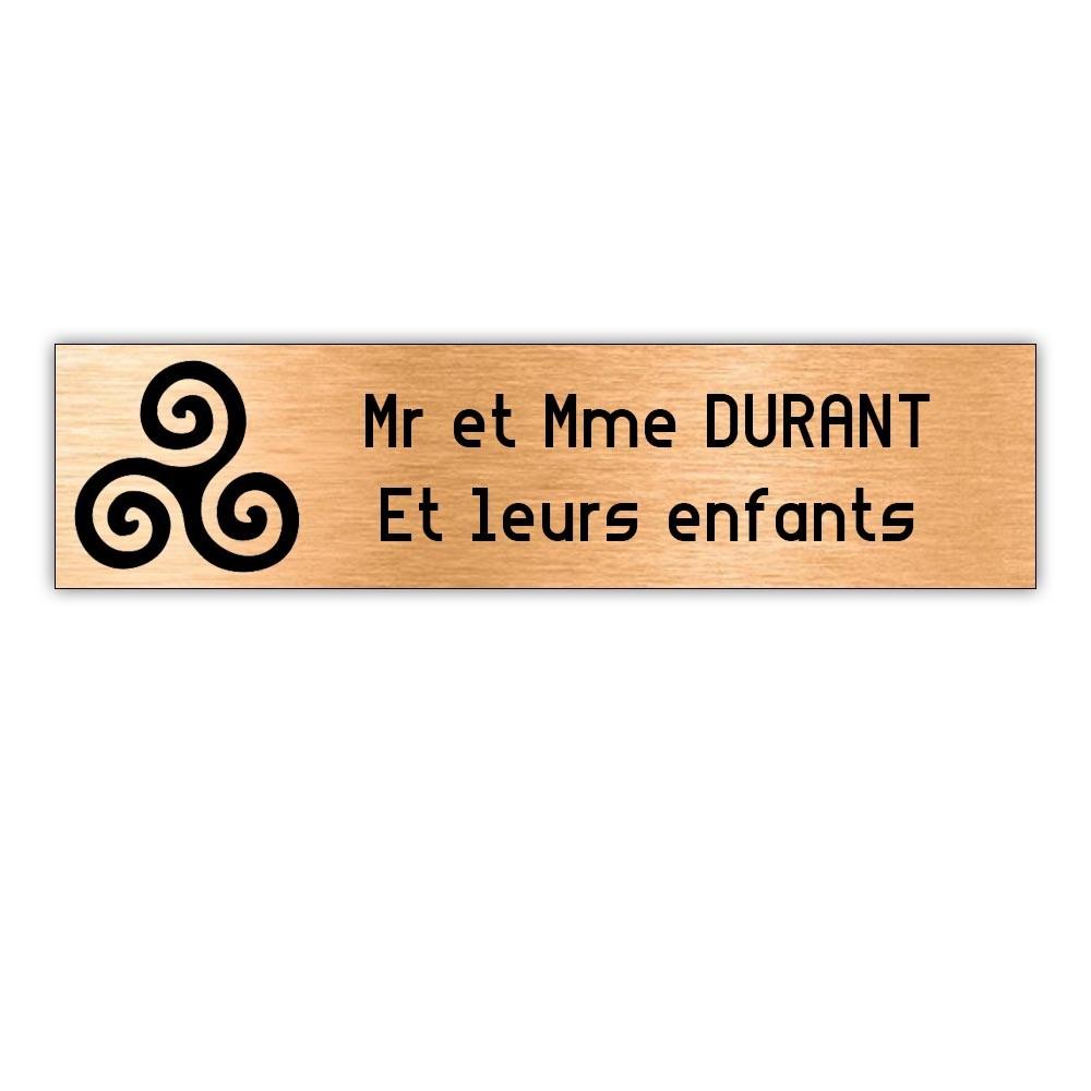 Plaque boite aux lettres Decayeux TRISKELL (100x25mm) cuivre lettres noires - 2 lignes