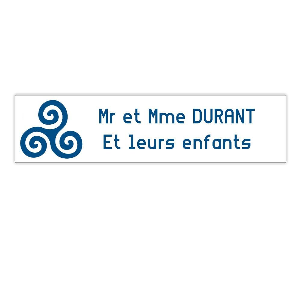 Plaque boite aux lettres Decayeux TRISKELL (100x25mm) blanche lettres bleues - 2 lignes