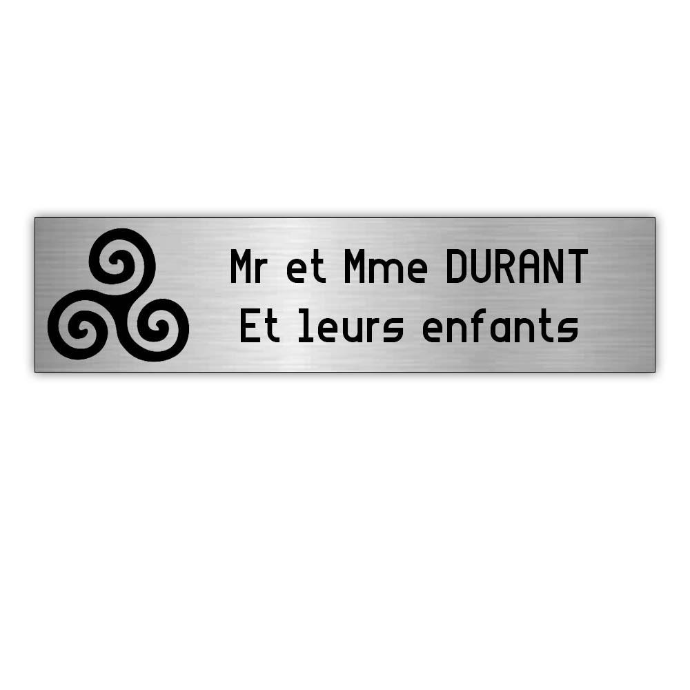 Plaque boite aux lettres Decayeux TRISKELL (100x25mm) gris argent lettres noires - 2 lignes