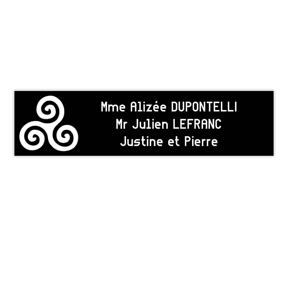 Plaque boite aux lettres Decayeux TRISKELL (100x25mm) noire lettres blanches - 3 lignes