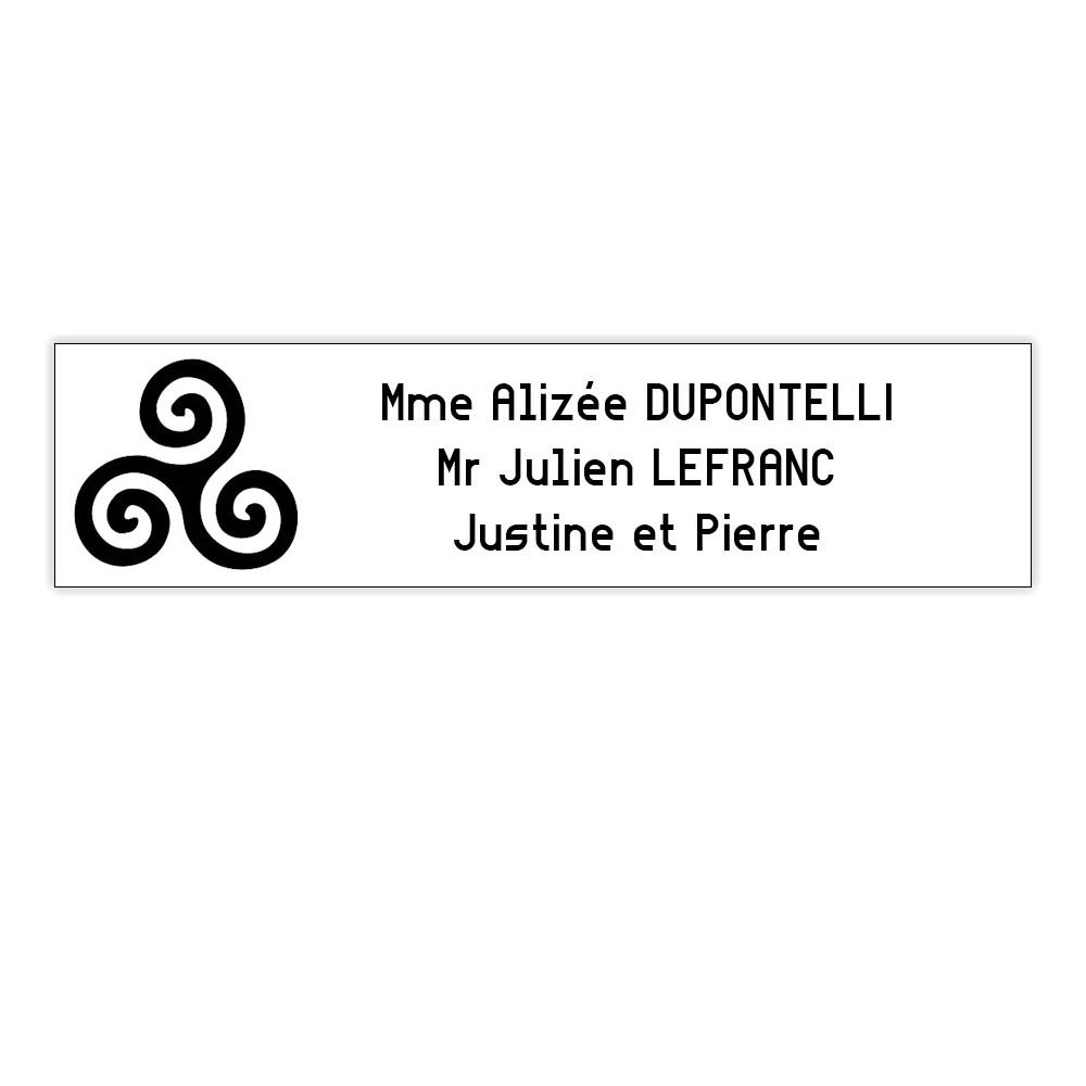 Plaque boite aux lettres Decayeux TRISKELL (100x25mm) blanche lettres noires - 3 lignes