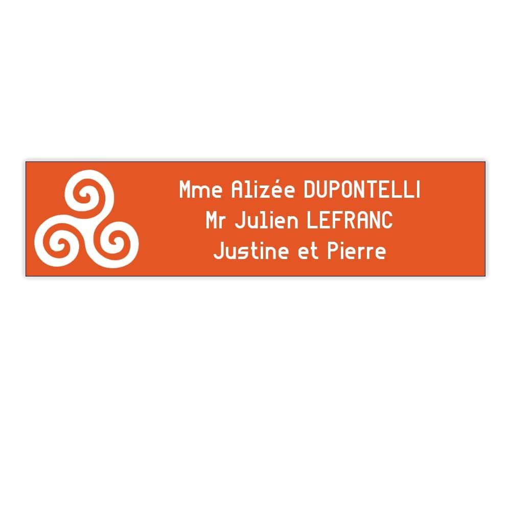 Plaque boite aux lettres Decayeux TRISKELL (100x25mm) orange lettres blanches - 3 lignes
