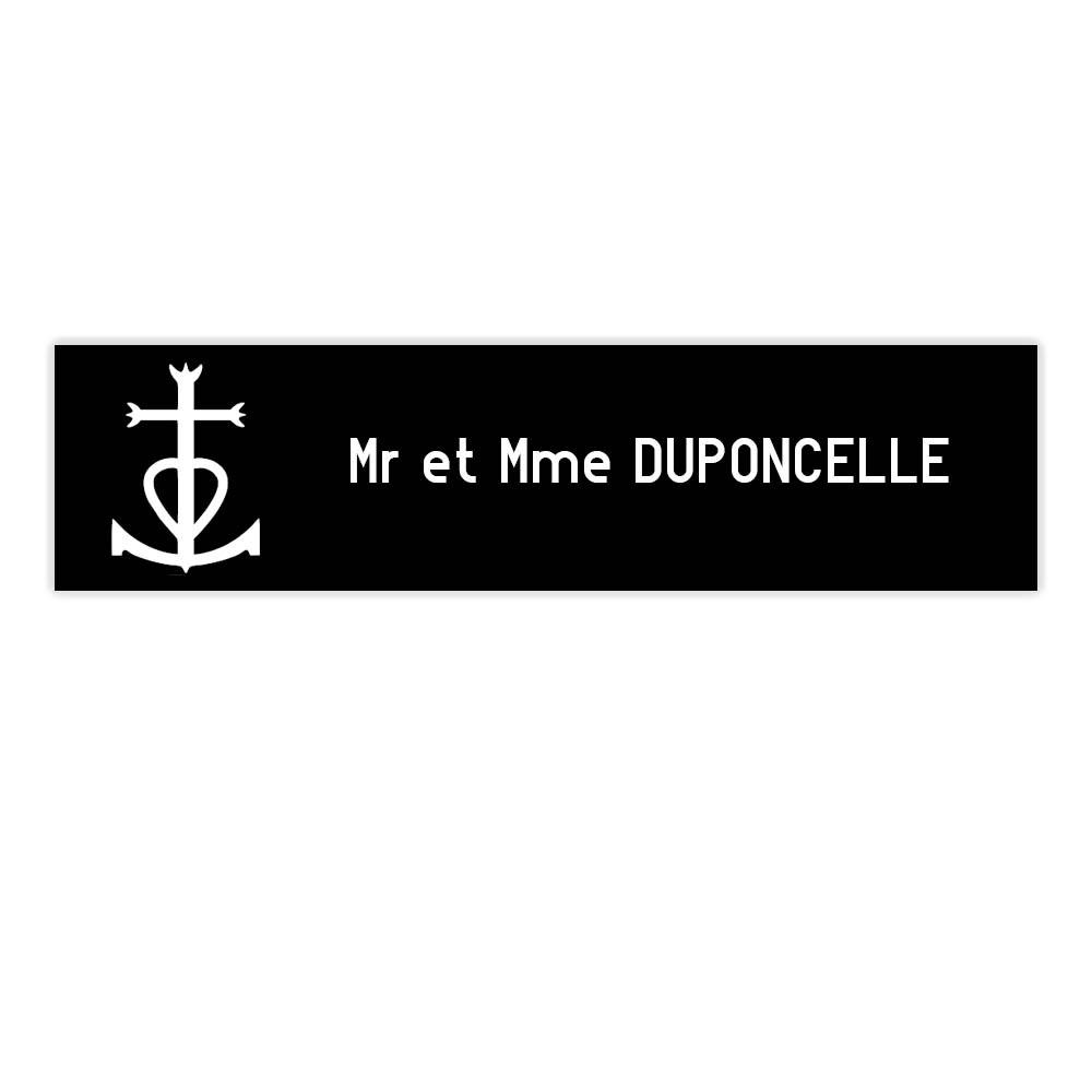 Plaque boite aux lettres Decayeux CROIX CAMARGUAISE (100x25mm) noire lettres blanches - 1 ligne