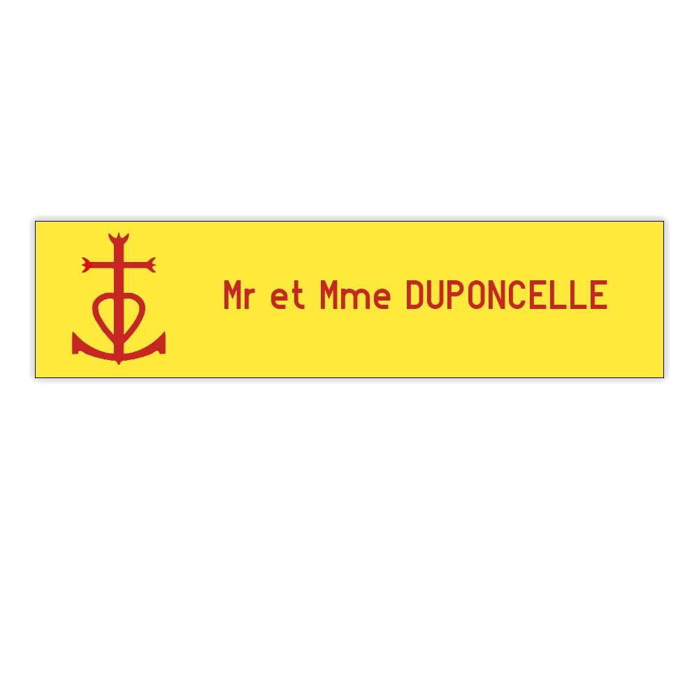 Plaque boite aux lettres Decayeux CROIX CAMARGUAISE (100x25mm) Jaune lettres rouges - 1 ligne
