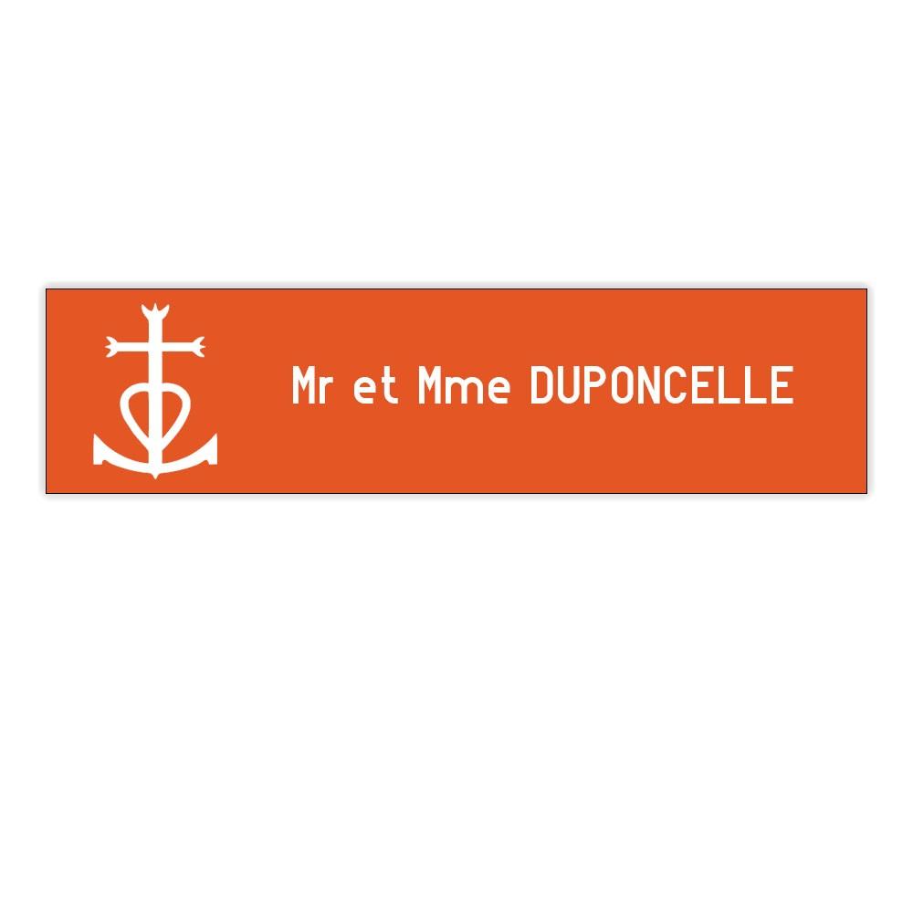 Plaque boite aux lettres Decayeux CROIX CAMARGUAISE (100x25mm) orange lettres blanches - 1 ligne