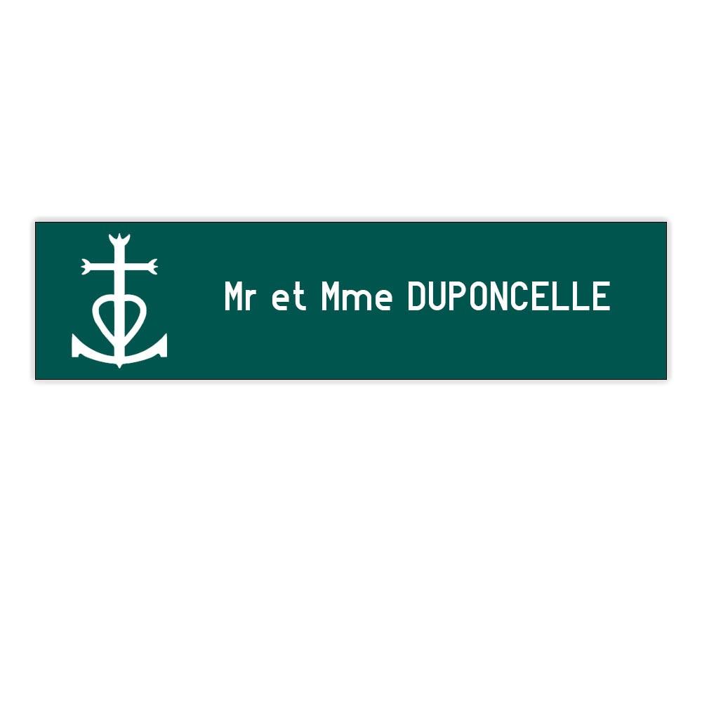 Plaque boite aux lettres Decayeux CROIX CAMARGUAISE (100x25mm) vert foncé lettres blanches - 1 ligne