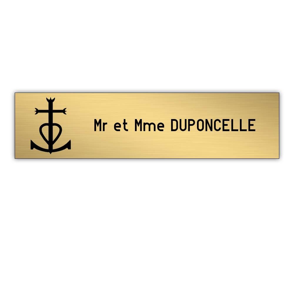 Plaque boite aux lettres Decayeux CROIX CAMARGUAISE (100x25mm) or brossé lettres noires - 1 ligne