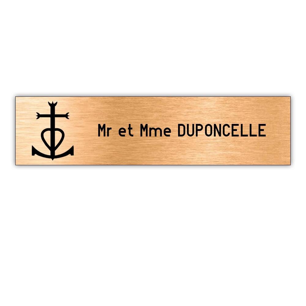 Plaque boite aux lettres Decayeux CROIX CAMARGUAISE (100x25mm) cuivre lettres noires - 1 ligne
