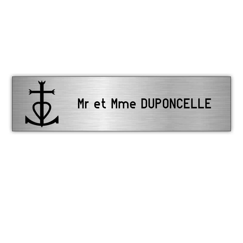Plaque boite aux lettres Decayeux CROIX CAMARGUAISE (100x25mm) gris argent lettres noires - 1 ligne