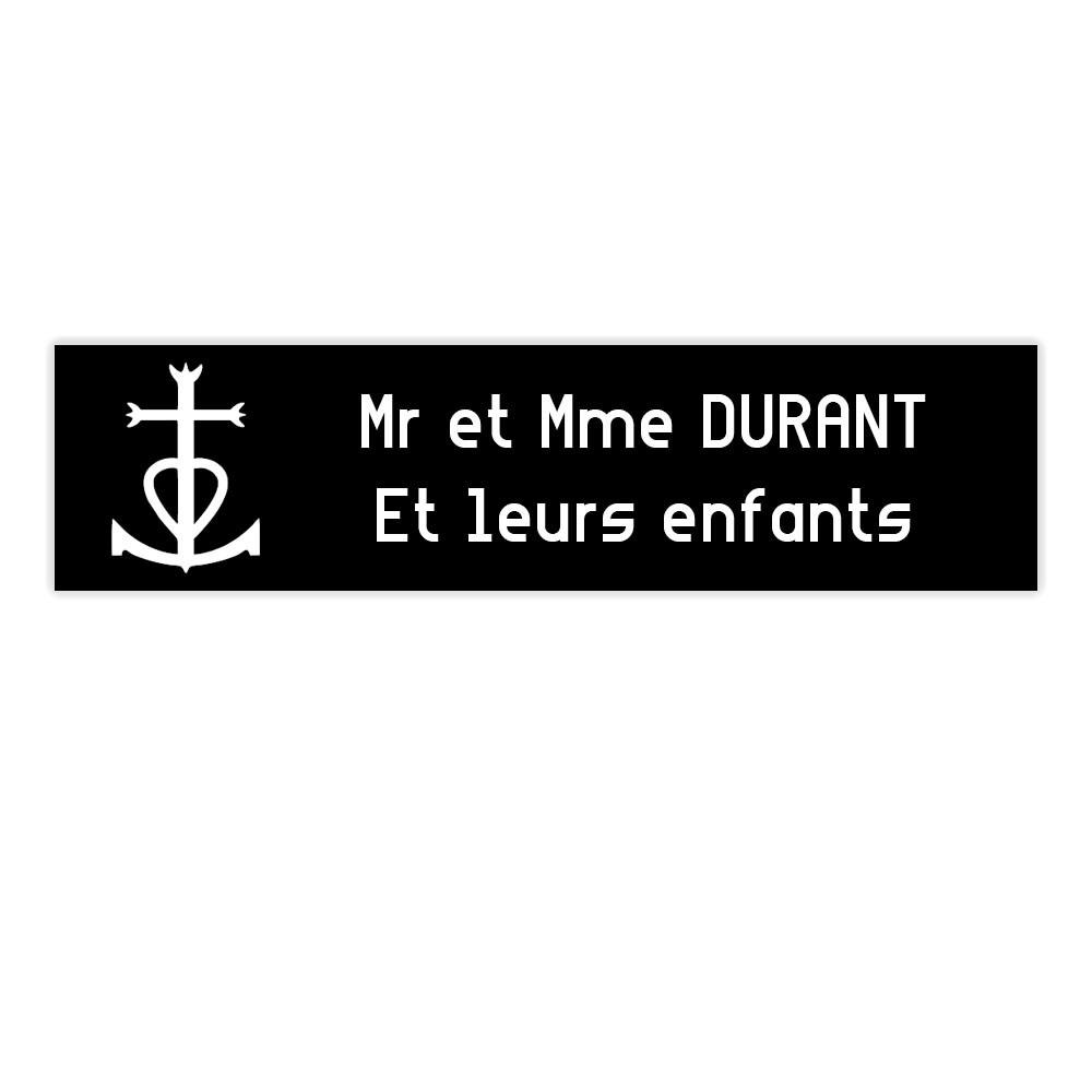 Plaque boite aux lettres Decayeux CROIX CAMARGUAISE (100x25mm) noire lettres blanches - 2 lignes
