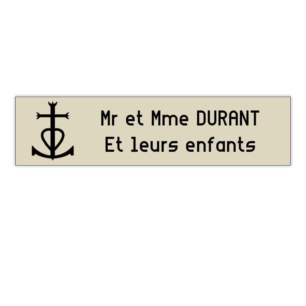 Plaque boite aux lettres Decayeux CROIX CAMARGUAISE (100x25mm) beige lettres noires - 2 lignes
