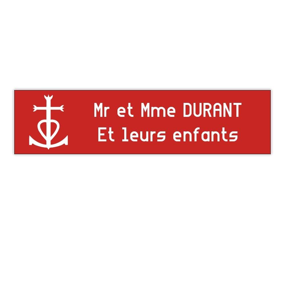 Plaque boite aux lettres Decayeux CROIX CAMARGUAISE (100x25mm) rouge lettres blanches - 2 lignes