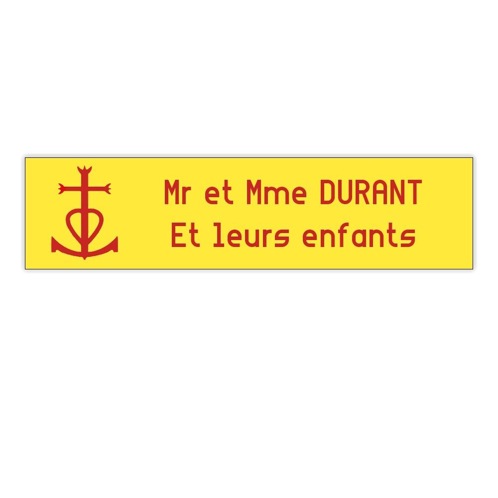 Plaque boite aux lettres Decayeux CROIX CAMARGUAISE (100x25mm) Jaune lettres rouges - 2 lignes