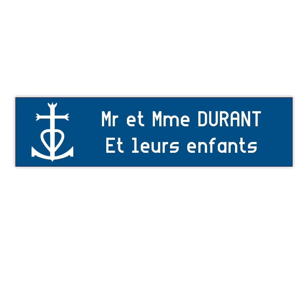 Plaque boite aux lettres Decayeux CROIX CAMARGUAISE (100x25mm) bleue lettres blanches - 2 lignes