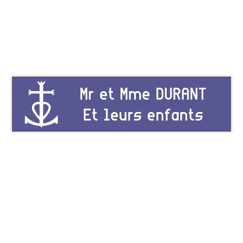 Plaque boite aux lettres Decayeux CROIX CAMARGUAISE (100x25mm) violette lettres blanches - 2 lignes