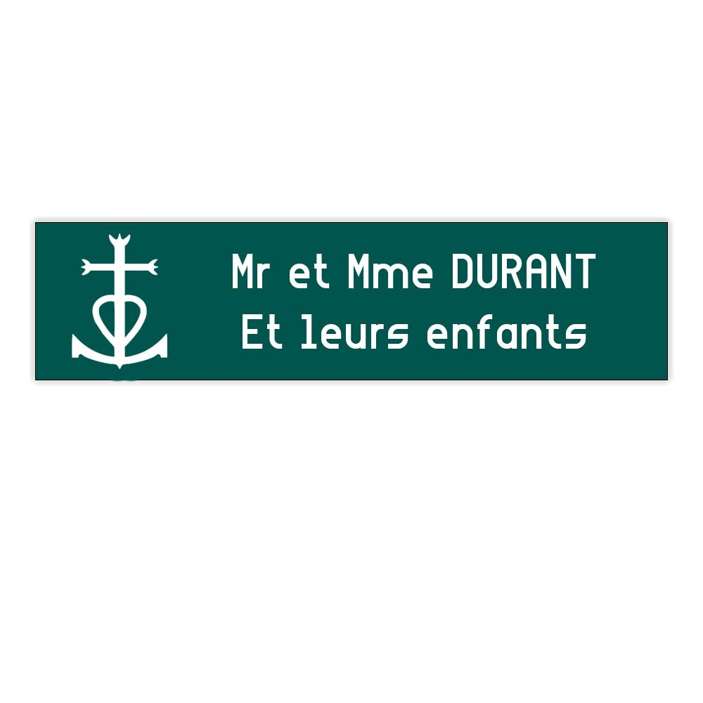 Plaque boite aux lettres Decayeux CROIX CAMARGUAISE (100x25mm) vert foncé lettres blanches - 2 lignes