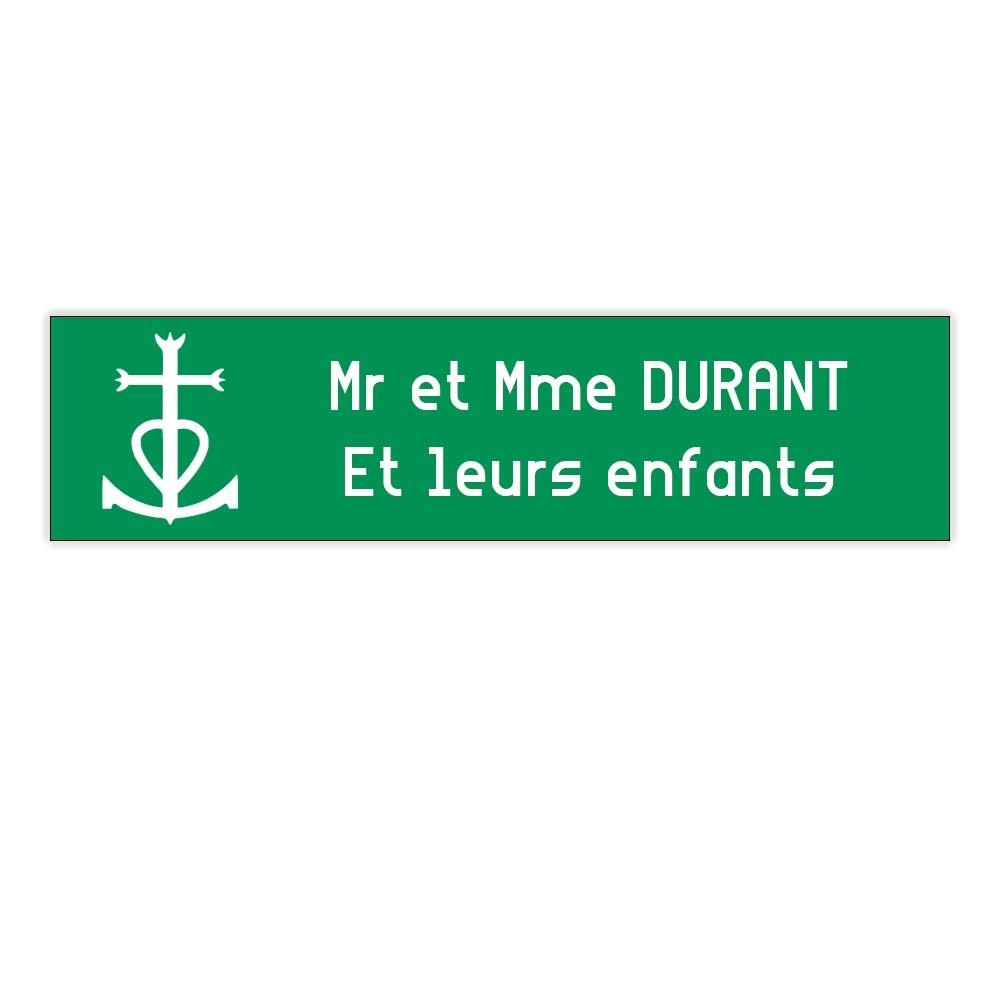 Plaque boite aux lettres Decayeux CROIX CAMARGUAISE (100x25mm) vert pomme lettres blanches - 2 lignes