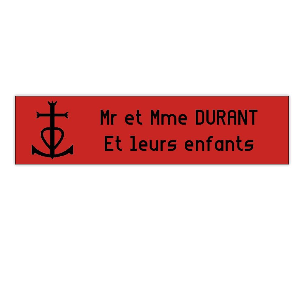 Plaque boite aux lettres Decayeux CROIX CAMARGUAISE (100x25mm) rouge lettres noires - 2 lignes