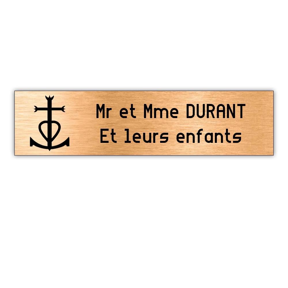 Plaque boite aux lettres Decayeux CROIX CAMARGUAISE (100x25mm) cuivre lettres noires - 2 lignes