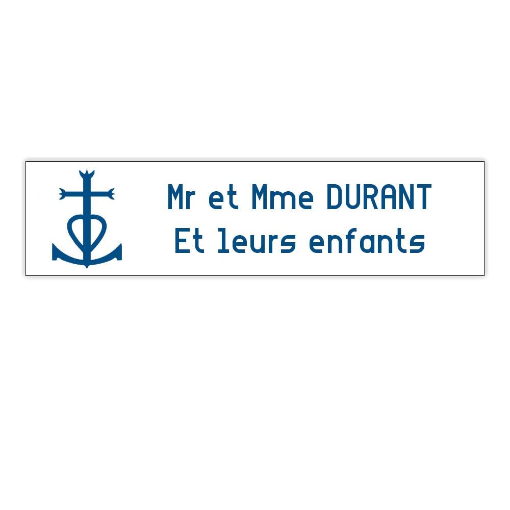 Plaque boite aux lettres Decayeux CROIX CAMARGUAISE (100x25mm) blanche lettres bleues - 2 lignes