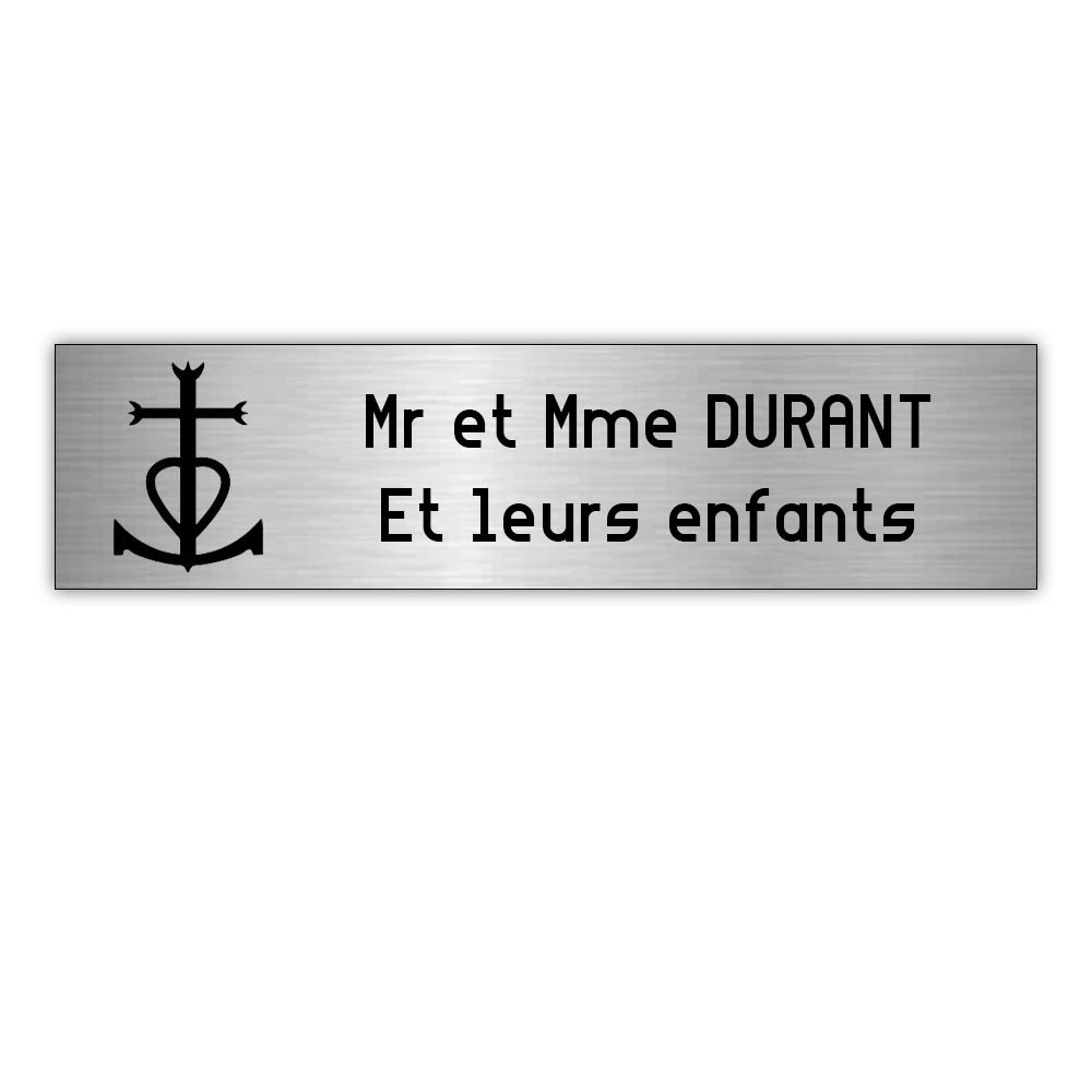 Plaque boite aux lettres Decayeux CROIX CAMARGUAISE (100x25mm) gris argent lettres noires - 2 lignes