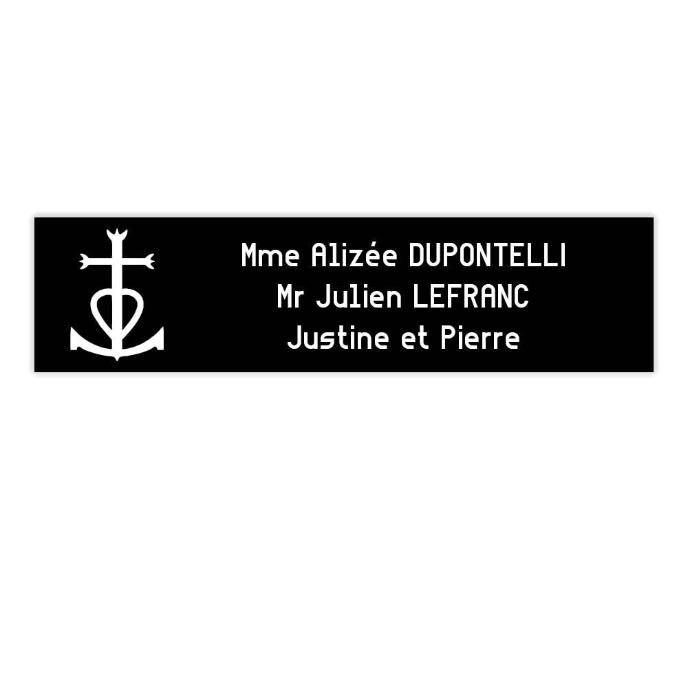 Plaque boite aux lettres Decayeux CROIX CAMARGUAISE (100x25mm) noire lettres blanches - 3 lignes