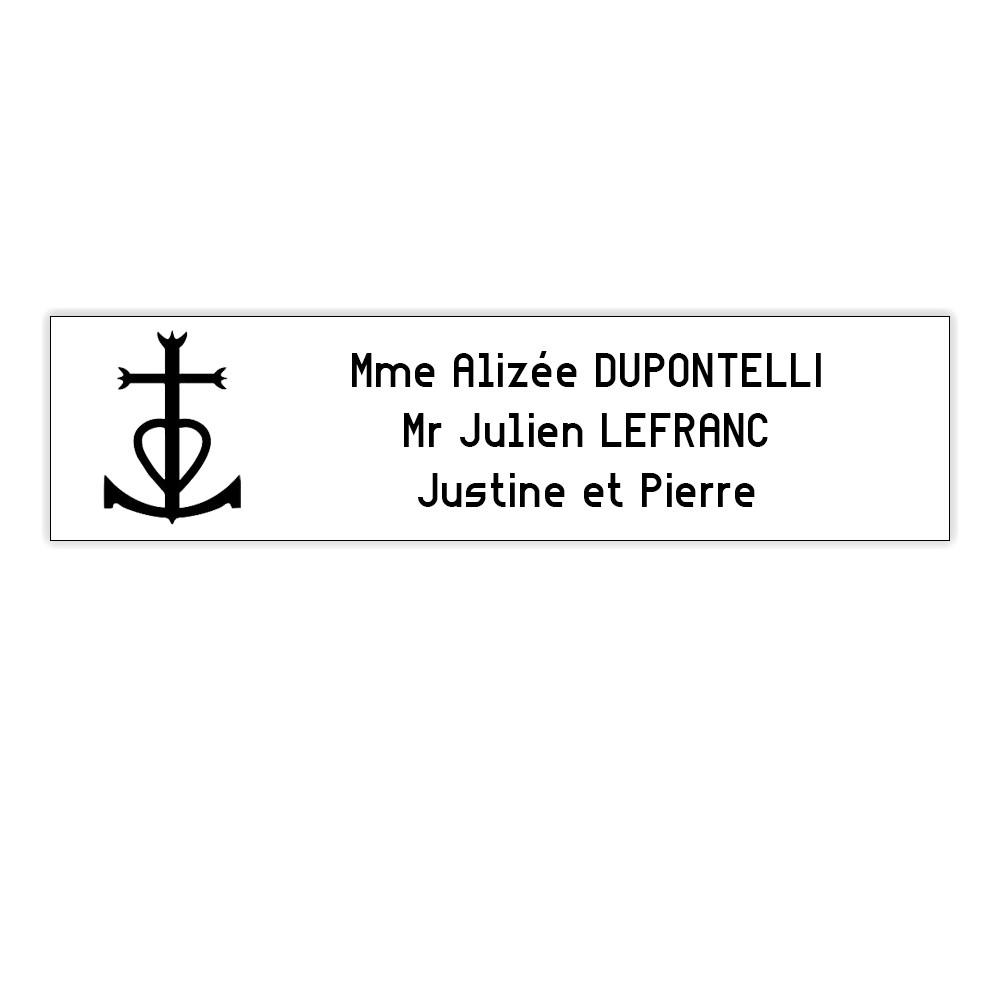 Plaque boite aux lettres Decayeux CROIX CAMARGUAISE (100x25mm) blanche lettres noires - 3 lignes