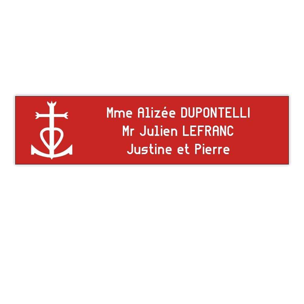 Plaque boite aux lettres Decayeux CROIX CAMARGUAISE (100x25mm) rouge lettres blanches - 3 lignes