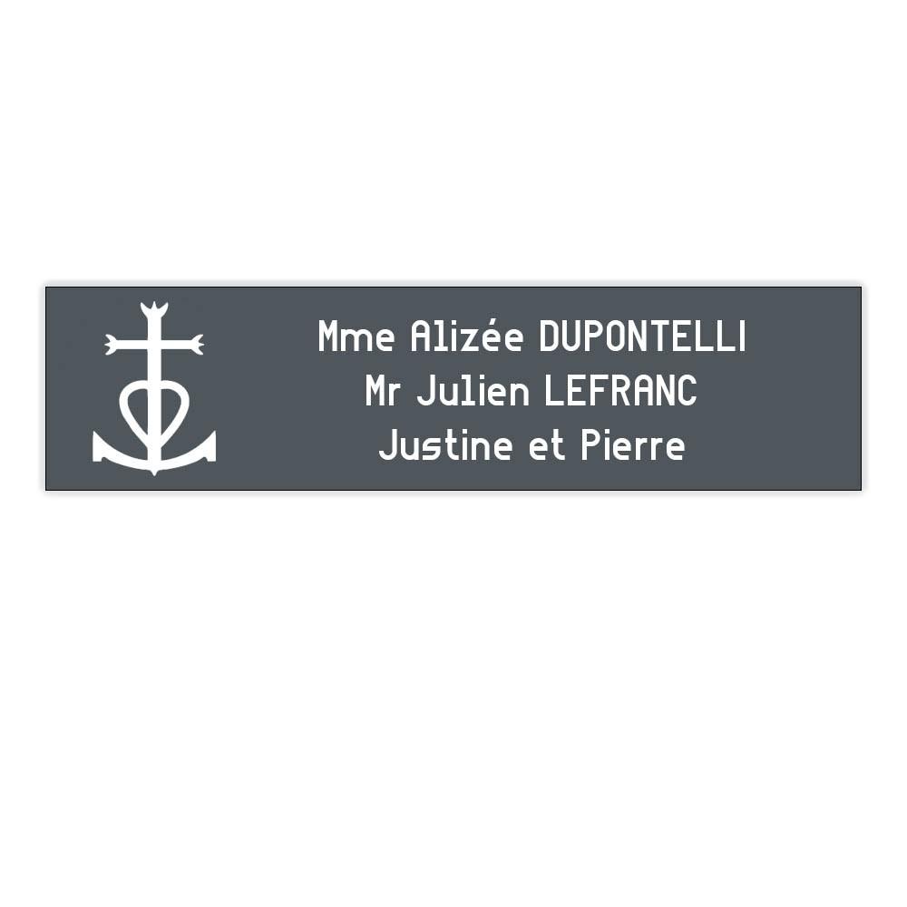 Plaque boite aux lettres Decayeux CROIX CAMARGUAISE (100x25mm) grise lettres blanches - 3 lignes