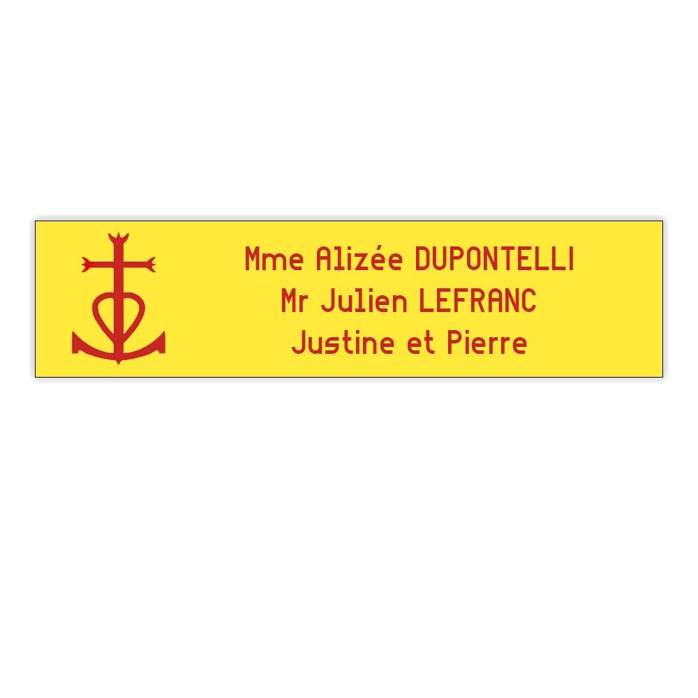 Plaque boite aux lettres Decayeux CROIX CAMARGUAISE (100x25mm) Jaune lettres rouges - 3 lignes