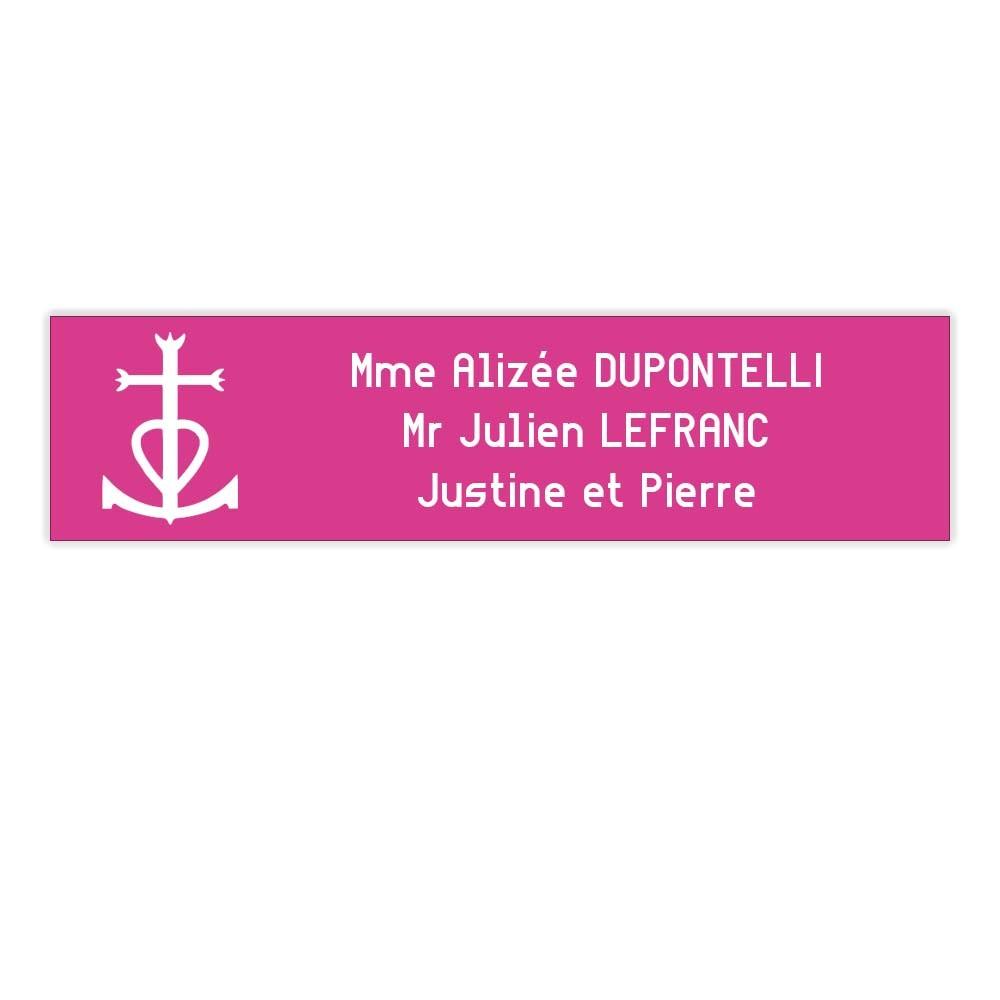 Plaque boite aux lettres Decayeux CROIX CAMARGUAISE (100x25mm) rose lettres blanches - 3 lignes