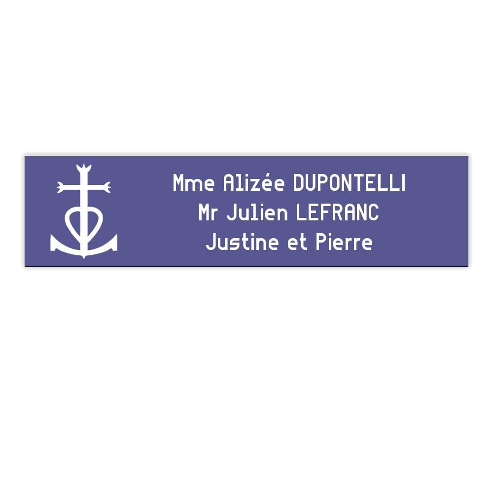 Plaque boite aux lettres format Decayeux CROIX CAMARGUAISE (100x25mm) violette lettres blanches - 3 lignes