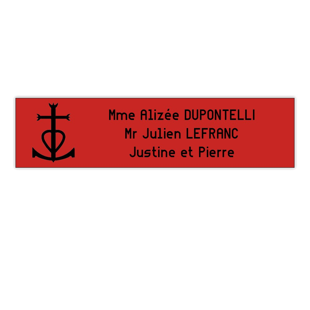 Plaque boite aux lettres format Decayeux CROIX CAMARGUAISE (100x25mm) rouge lettres noires - 3 lignes