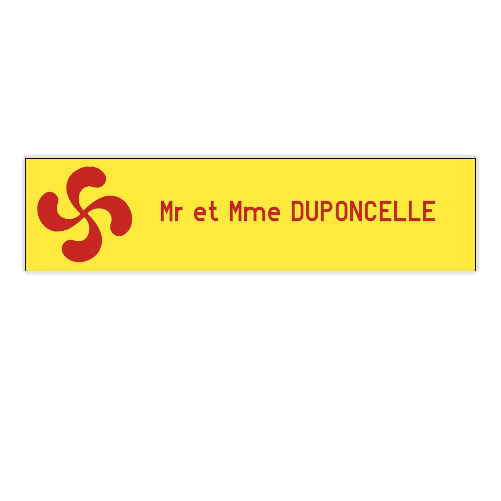 Plaque boite aux lettres Decayeux CROIX BASQUE (100x25mm) Jaune lettres rouges - 1 ligne