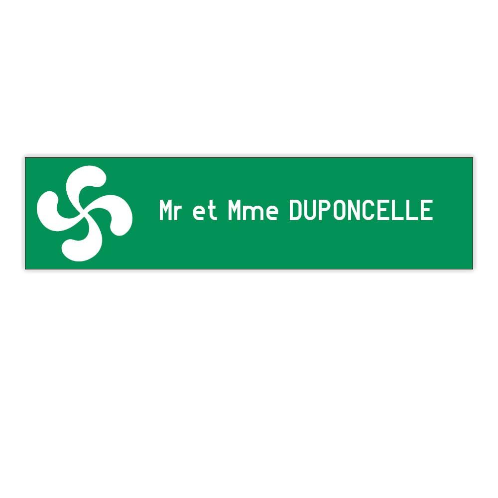 Plaque boite aux lettres Decayeux CROIX BASQUE (100x25mm) vert pomme lettres blanches - 1 ligne