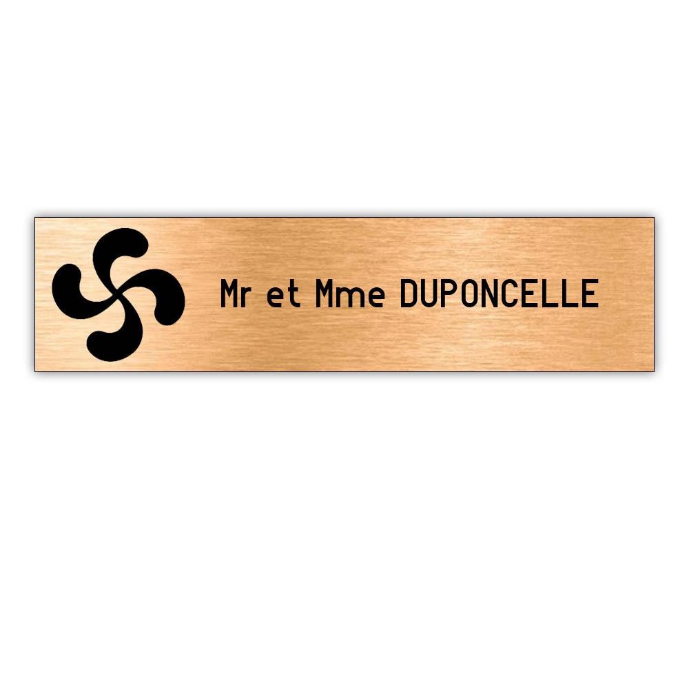 Plaque boite aux lettres Decayeux CROIX BASQUE (100x25mm) cuivre lettres noires - 1 ligne
