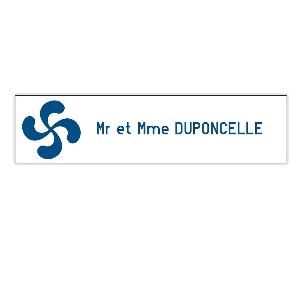 Plaque boite aux lettres Decayeux CROIX BASQUE (100x25mm) blanche lettres bleues - 1 ligne