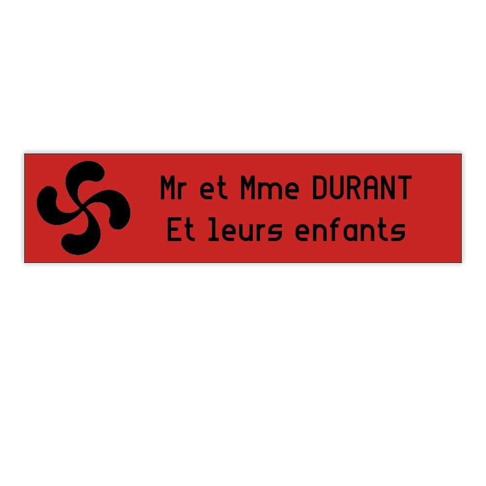 Plaque boite aux lettres Decayeux CROIX BASQUE (100x25mm) rouge lettres noires - 2 lignes