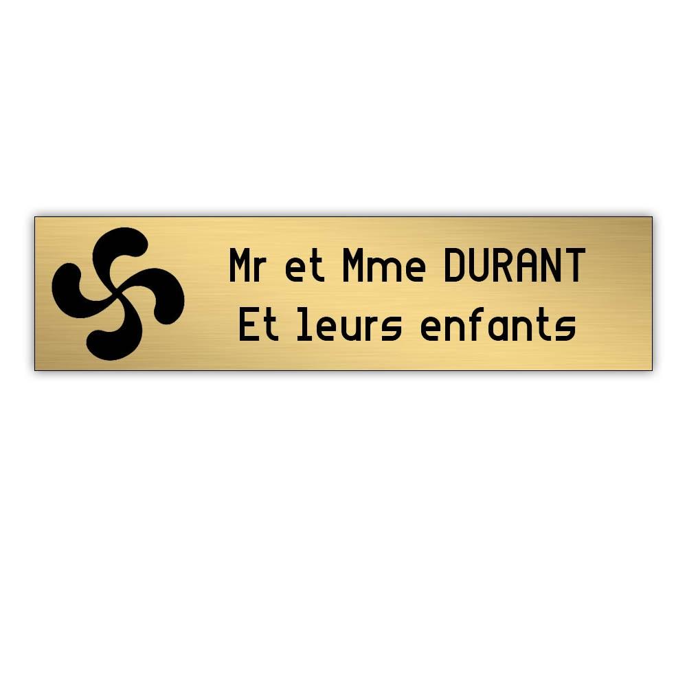Plaque boite aux lettres Decayeux CROIX BASQUE (100x25mm) or brossé lettres noires - 2 lignes
