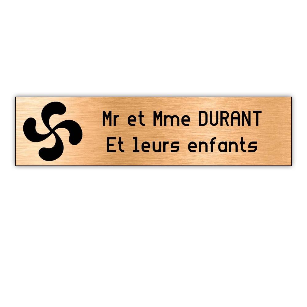 Plaque boite aux lettres Decayeux CROIX BASQUE (100x25mm) cuivre lettres noires - 2 lignes