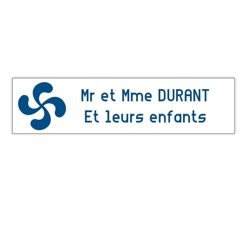 Plaque boite aux lettres Decayeux CROIX BASQUE (100x25mm) blanche lettres bleues - 2 lignes